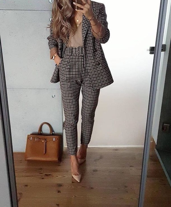 pants suit women's suit office outfits blazer pants business clothes work clothes business chic jacket tapered tailoring dressy