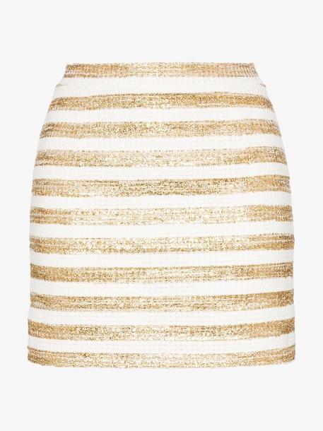 Alessandra Rich high-waisted lurex stripe mini skirt in gold / white