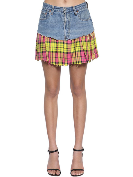 VETEMENTS Denim & Plaid Mini Skirt in blue