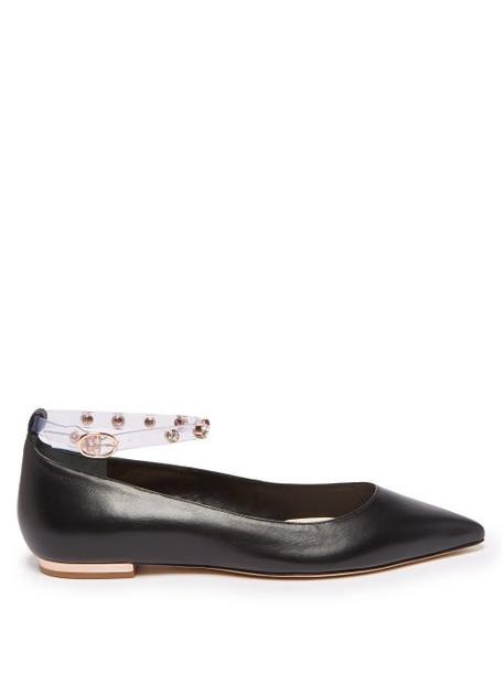 Sophia Webster - Dina Crystal Embellished Leather Flats - Womens - Black