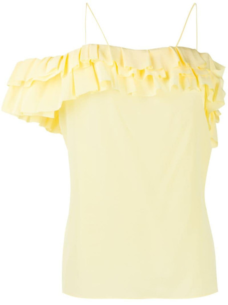 Victoria Beckham frill off-the-shoulder top in yellow