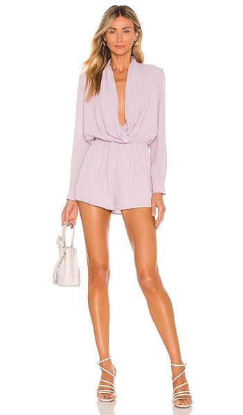 superdown Kaycie Drape Neck Romper in Lavender in lilac