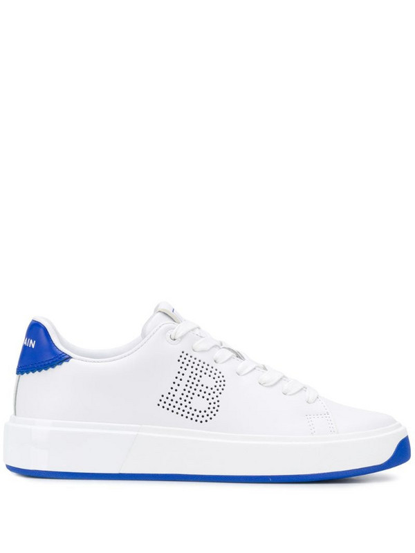 Balmain perforated B-Court sneakers in white