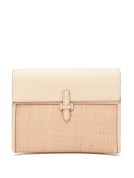 Hunting Season - The Soft Clutch Leather And Canvas Bag - Womens - Beige
