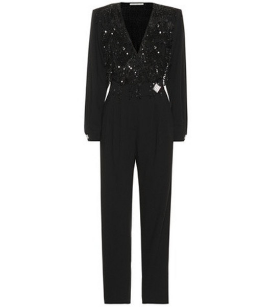 Alessandra Rich Embellished stretch wool jumpsuit in black