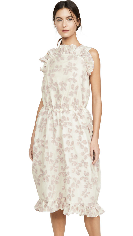 pushBUTTON Front Frill Point Dress in ivory