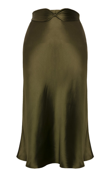 Anna October Aimee Belted Satin Midi Skirt in green