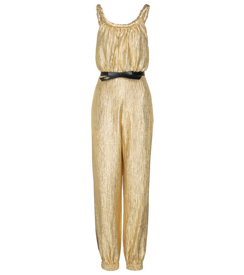 Fendi Metallic cloqué jumpsuit in gold