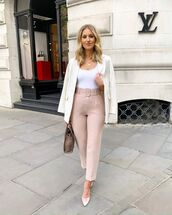 pants,pink pants,high waisted pants,pumps,bag,white blazer,white top