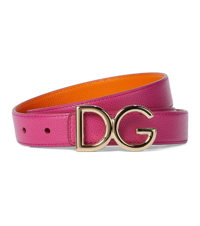 Dolce & Gabbana DG reversible leather belt in pink