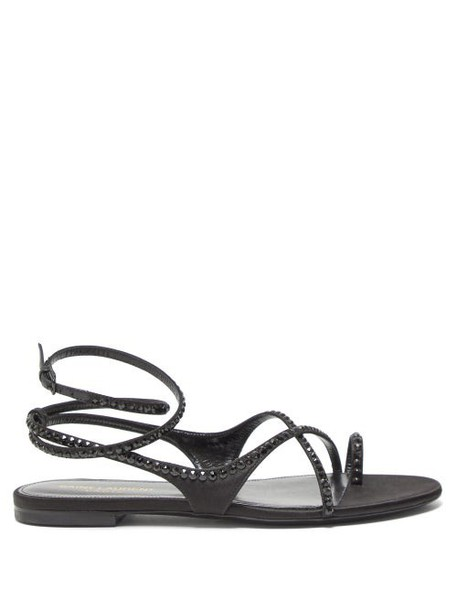 Saint Laurent - Gia Crystal Embellished Leather Sandals - Womens - Black