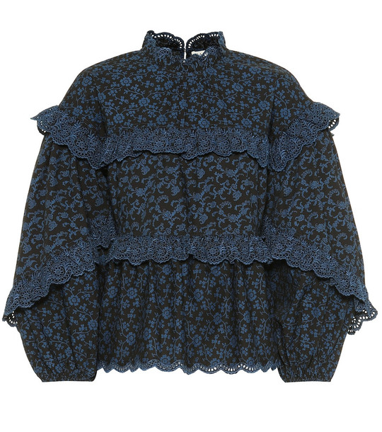 Ulla Johnson Isa ruffled floral cotton blouse in blue