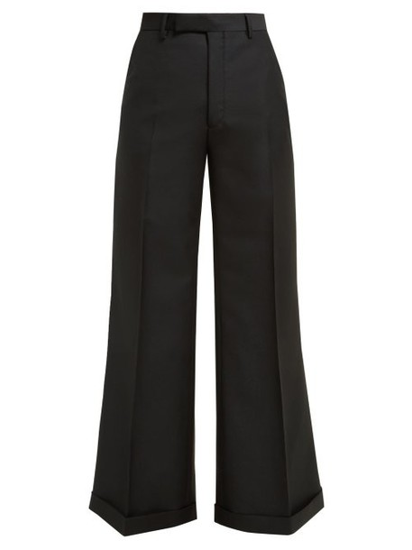 Gucci - Flared Wool Blend Trousers - Womens - Black