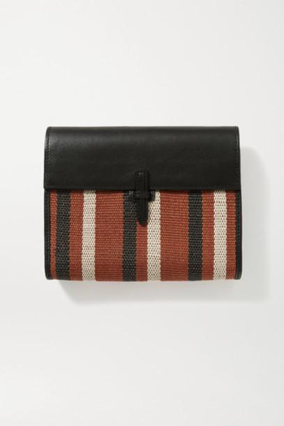 Hunting Season - Leather And Striped Raffia Clutch - Black