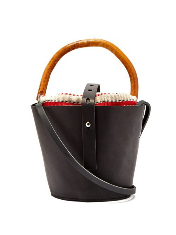 Muuñ Muuñ - Louise Leather And Rattan Bucket Bag - Womens - Red Multi