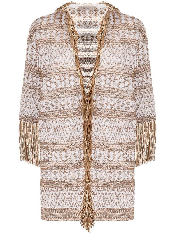 D.Exterior fringed jacquard cardigan in white