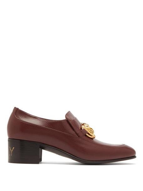 Gucci - Ebal Horsebit Leather Loafers - Womens - Burgundy