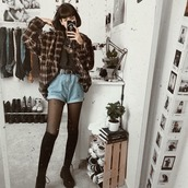 top,grunge,grunge jacket,grunge t-shirt,grunge aesthetic,soft grunge,High waisted shorts,brown jacket,checkered jacket,aesthetic,instagram