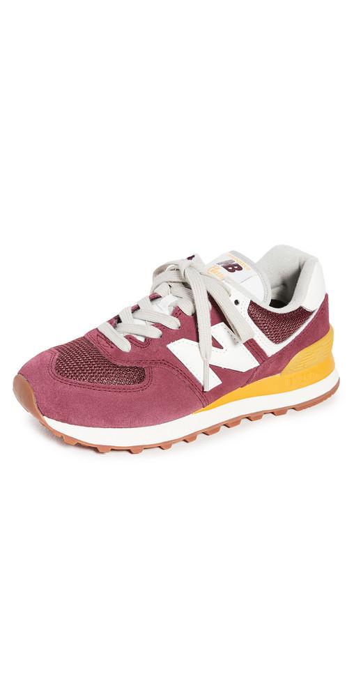 New Balance 574 Classic Sneakers in burgundy / yellow