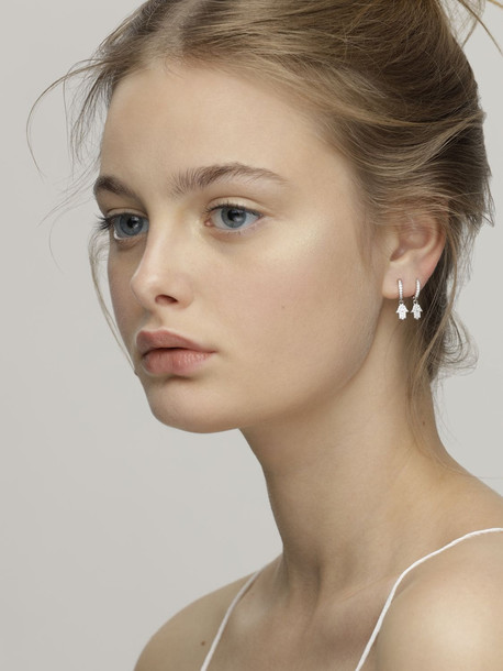 FEDERICA TOSI Mini Hand Charm Hoop Earrings in silver
