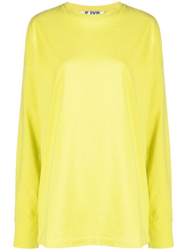 SJYP slogan-print cotton t-shirt in yellow