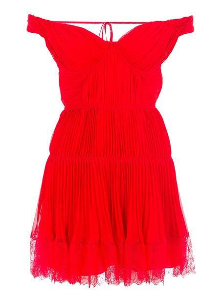 self-portrait Self Portrait Off Shoulder Pleated Chiffon Mini Dress in red
