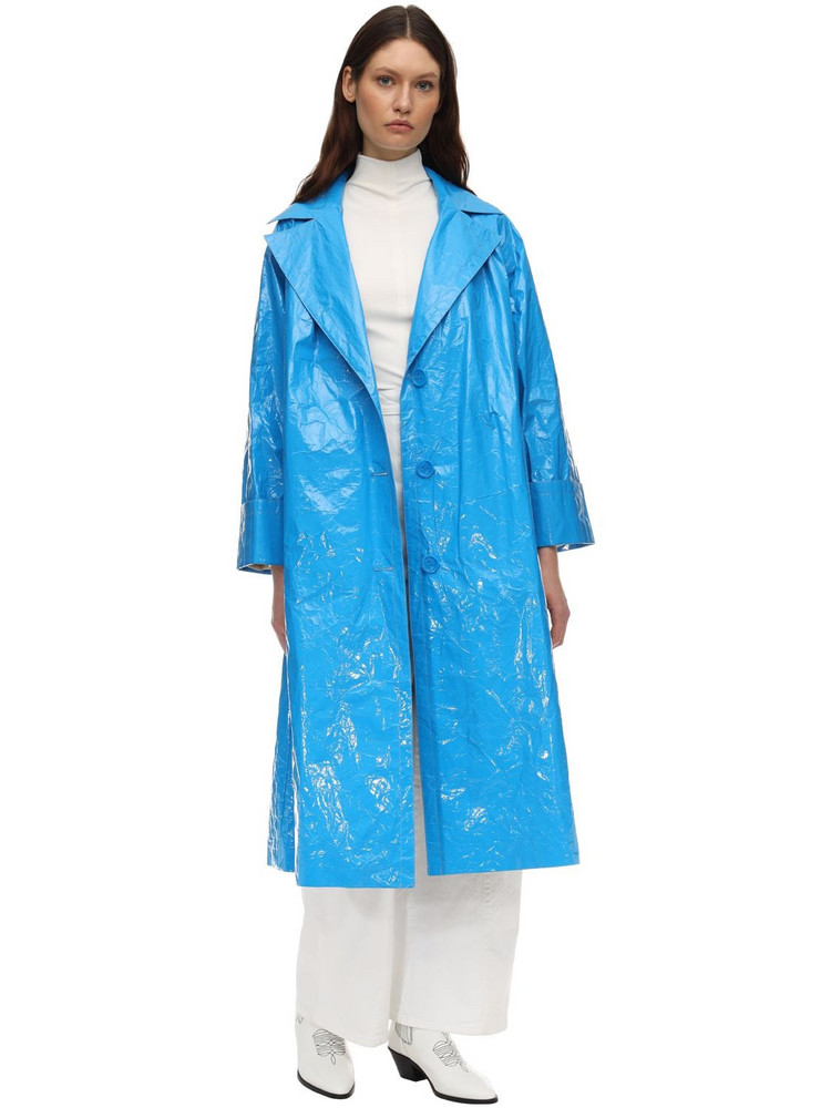 STAND Lexie Nylon Trench Coat in blue