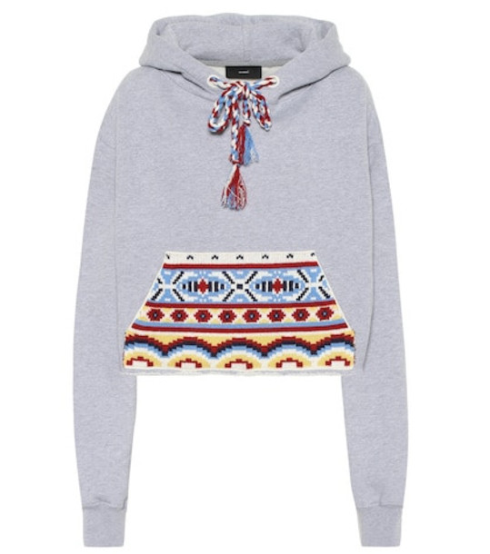 Alanui Cotton and cashmere hoodie in grey