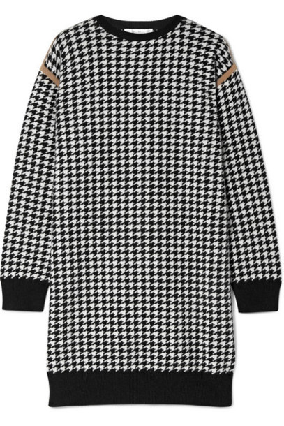 Max Mara - Canale Houndstooth Wool And Cashmere-blend Mini Dress - White