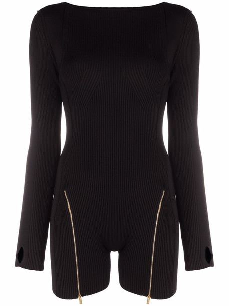 Jacquemus long-sleeved ribbed-knit jumpsuit - Black