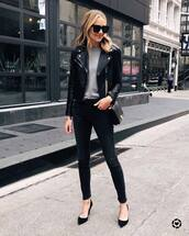 jacket,black leather jacket,black skinny jeans,pumps,black bag,crossbody bag,knitted sweater,black sunglasses
