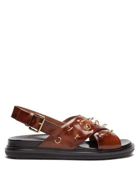Marni - Fussbett Patent Leather Slingback Sandals - Womens - Dark Brown