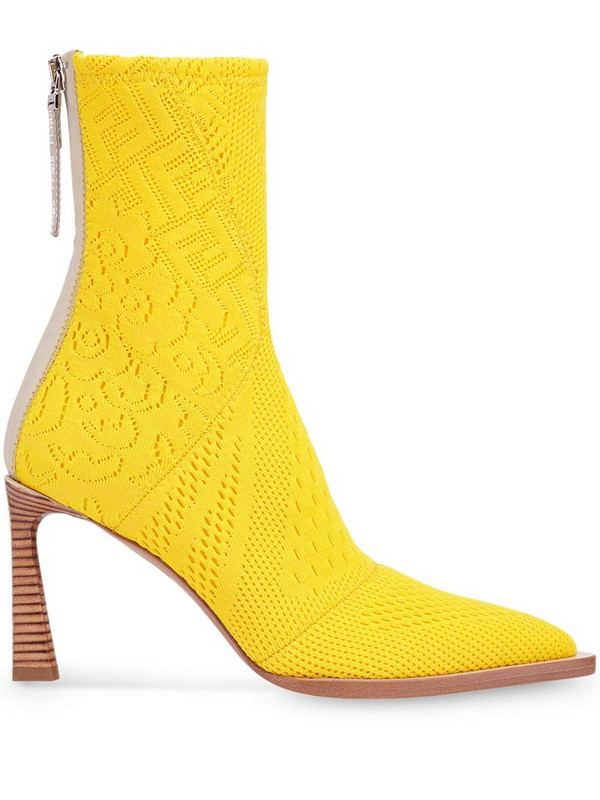 Fendi FFrame jacquard pointed-toe ankle boots in yellow