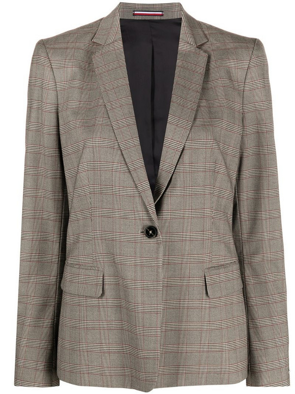 Tommy Hilfiger check-print single-breasted blazer in neutrals