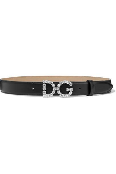 Dolce & Gabbana - Crystal-embellished Leather Belt - Black