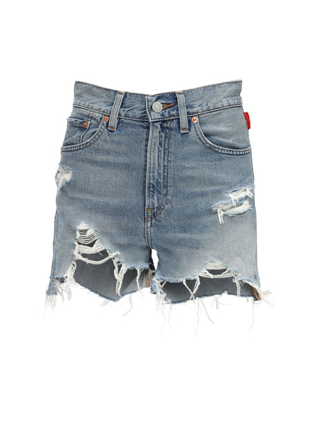 DENIMIST Nic High Waist Denim Cutoff Shorts in blue