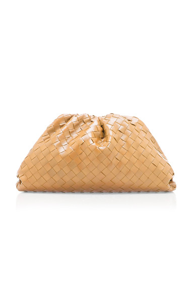 Bottega Veneta The Pouch Gathered Intrecciato Leather Clutch in neutral