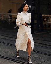 shoes,ankle boots,snake print,white dress,turtleneck dress,midi dress