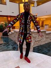 jacket,red,tribal pattern,yellow,white,blue