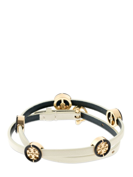 TORY BURCH Miller Double Wrap Leather Bracelet in gold / ivory