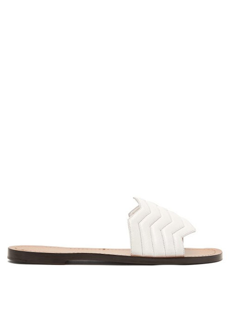 Nicholas Kirkwood - Chevron Quilted Leather Slides - Womens - White