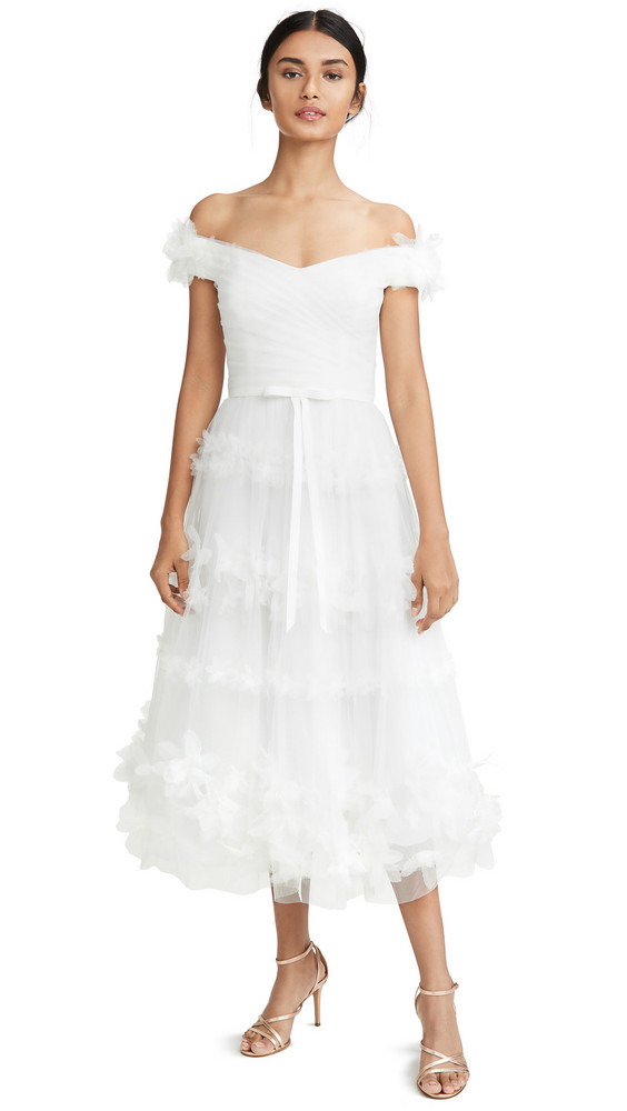 Marchesa Notte Off Shoulder 3D Floral Stripe Tulle Tea Length Gown in ivory