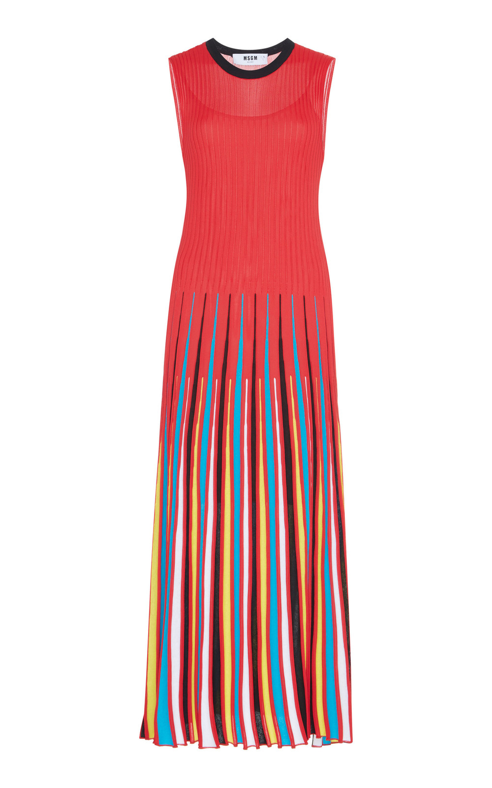 MSGM Pleated Maxi Dress in red