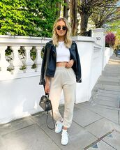 pants,joggers,pretty little thing,white sneakers,black leather jacket,zara,crop tops,white top,black bag