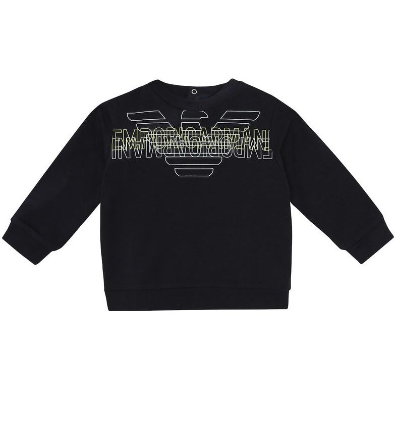 Emporio Armani Kids Printed stretch-cotton sweatshirt in black