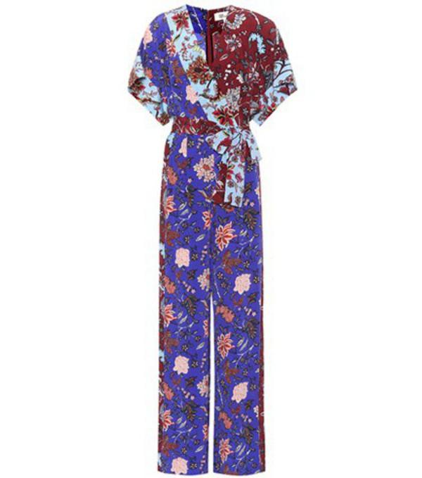 Diane von Furstenberg Floral-printed wrap jumpsuit in blue