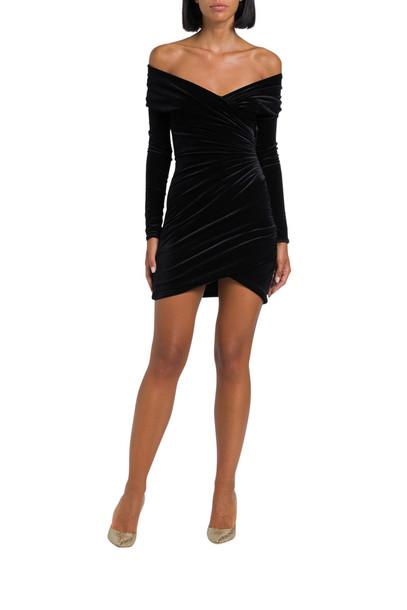 Alexandre Vauthier Draped Velvet Dress in nero
