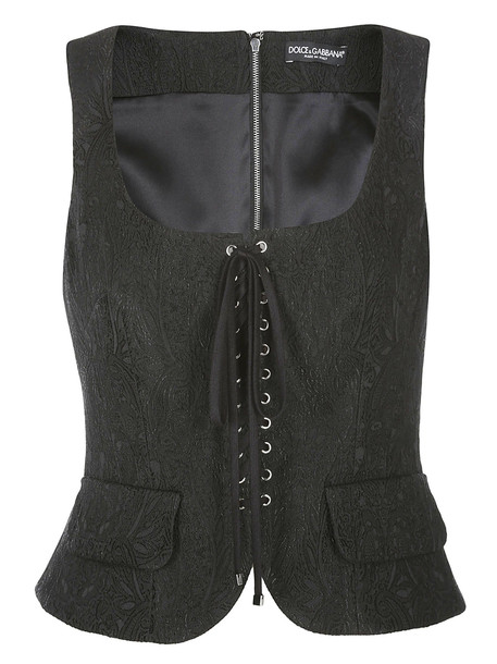 Dolce & Gabbana Lace-up Detail Top in black