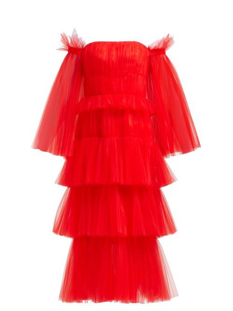 Carolina Herrera - Off The Shoulder Tiered Tulle Midi Dress - Womens - Red