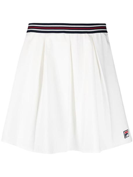 Fila stripe-detail pleated miniskirt in white